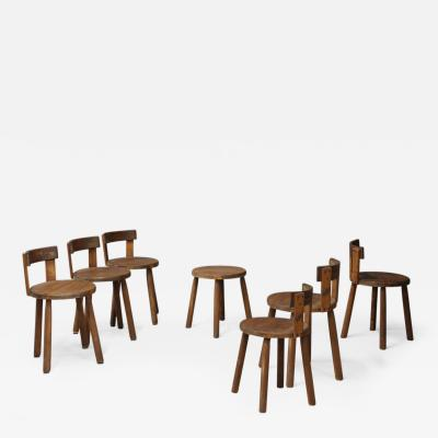Set of Six french MidCentury chair in wood of 1950s