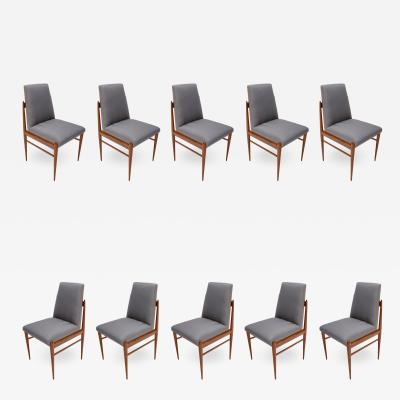 Set of Ten 1960s Brazilian Caviuna Dining Chairs by LAtelier