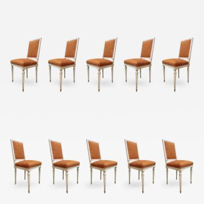 Set of Ten Chairs Signed Jean Mocque France 19th Century
