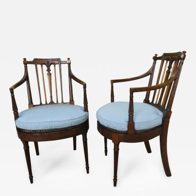 Set of Ten George IV Mahogany and Satinwood Armchairs