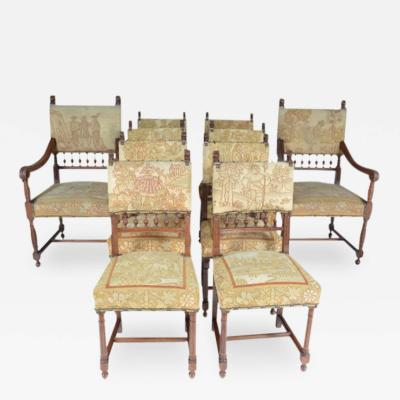 Set of Ten Henry II Style Needlepoint Chairs