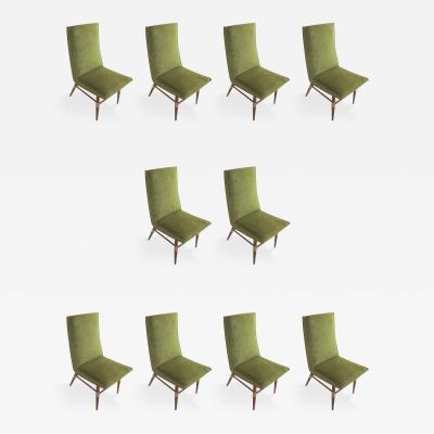 Set of Ten Italian Mid Century Modern Dining Chairs With Brass Mounts