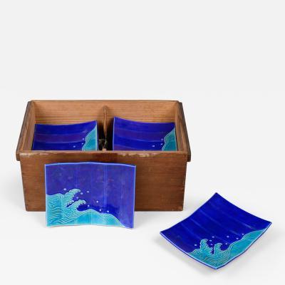 Set of Ten Japanese Screen Shaped Ceramic Dishes