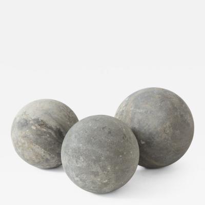 Set of Three 18th C Belgian Bluestone Garden Spheres