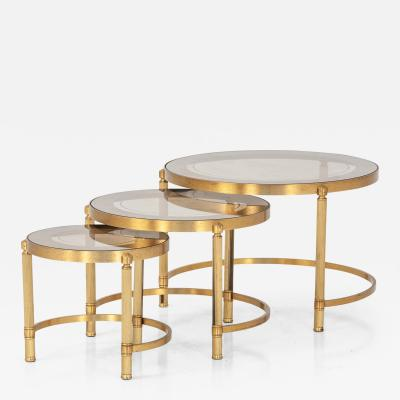Set of Three Brass Nesting Cocktail Tables