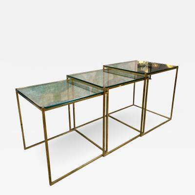 Set of Three Brass and Glass Nesting Side Tables Italy 1960s