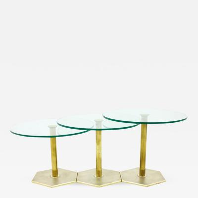 Set of Three Brass and Glass Side Tables Nesting Tables