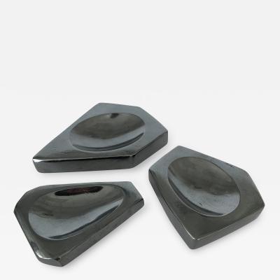 Set of Three Carved Hematite Stone Vide Poches