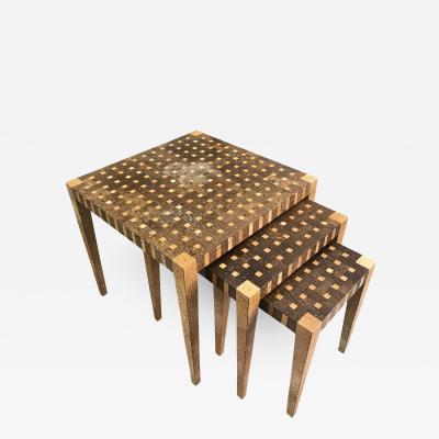 Set of Three Coconut Shells Nesting Tables