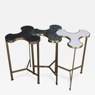 Set of Three Custom Brass and Marble Trefoil Side Tables