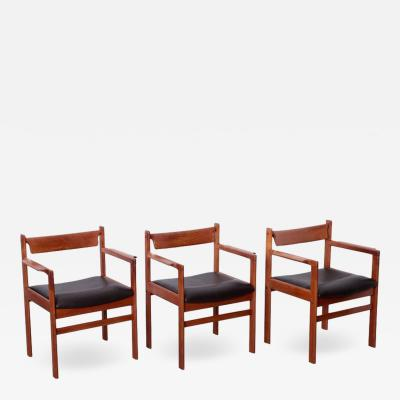 Set of Three Danish Occasional Armchairs in Teak and Leather