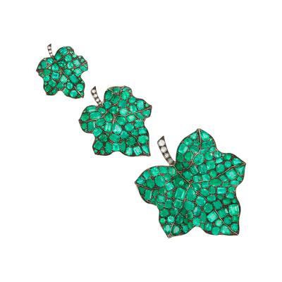 Set of Three Emerald Diamond Leaf Pins