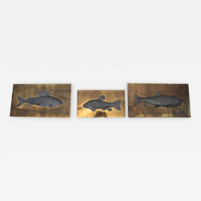 Set of Three Fish Panels Studio E Designo Signed and Numeroted 1973 Italy