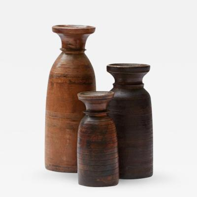 Set of Three Large Turned Wood Vases