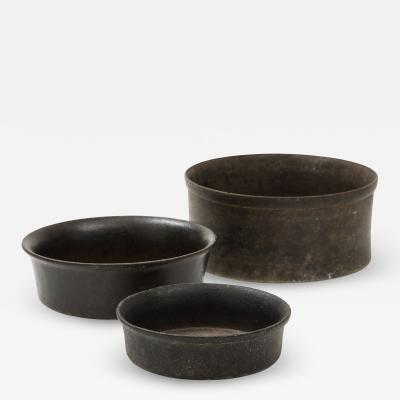 Set of Three Mesoamerican Hand Carved Stone Bowls 900 B C 1500 A D