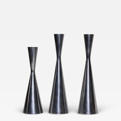 Set of Three MidCentury Modern Pewter Metal Candlesticks 1970