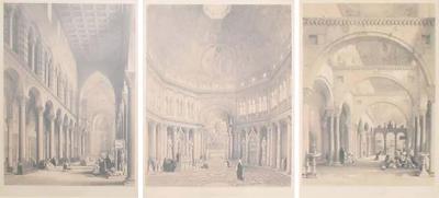 Set of Three Midcentury Modern Italian Column Architecture Etchings Framed 1960s