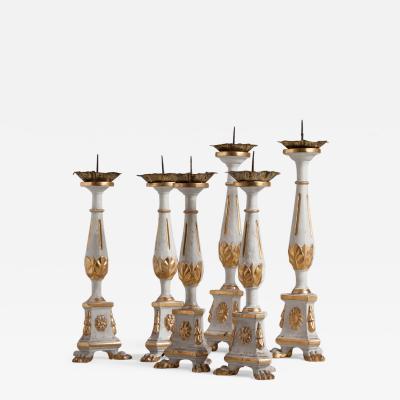 Set of Three Pairs of 19th Century Pricket Candle Sticks Italy circa 1820