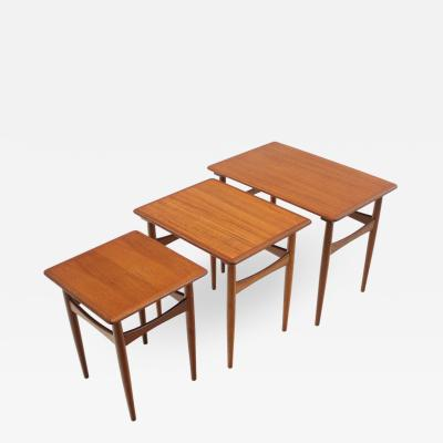 Set of Three Scandinavian Modern Teak Nesting Tables