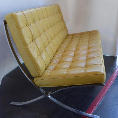 Set of Three Sleek Barcelona Chairs and Sofa c 1970s