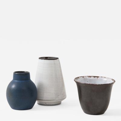 Set of Three Small Mid Century Vases Delft Netherlands
