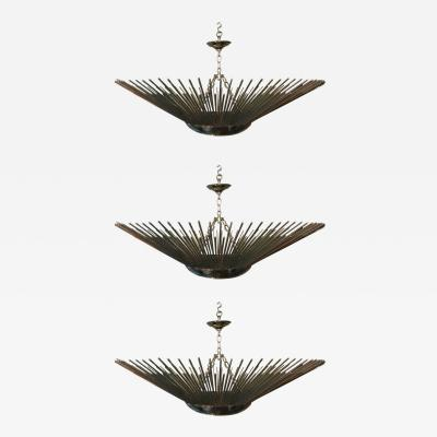 Set of Three Sunburst Nickel Plated Light Fixtures