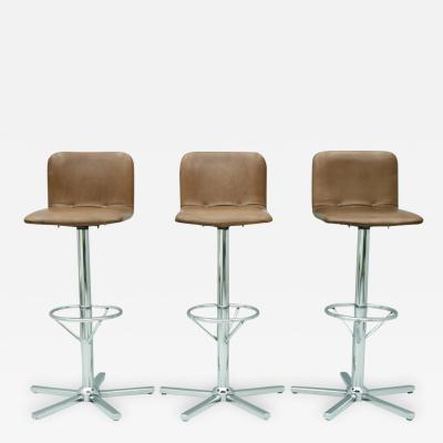 Set of Three Swivel Bar Stools in Brown Leather and Chrome 1970s