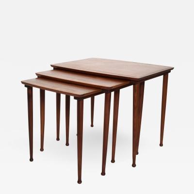 Set of Three Teak Nesting Tables Simple Modern MOBELINTARSIA Denmark 1960s