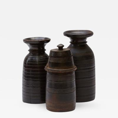 Set Of Three Turned Wood Vases One With Lidded Top