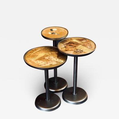 Set of Three Vintage Italian Iron Brass Enamel Transparent Resin Side Tables