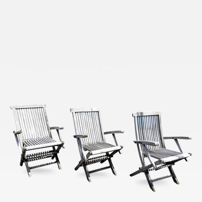 Set of Three Vintage Teak Folding Chairs by Andrew