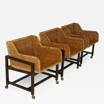 Set of Three Woven Wicker Basket Chairs