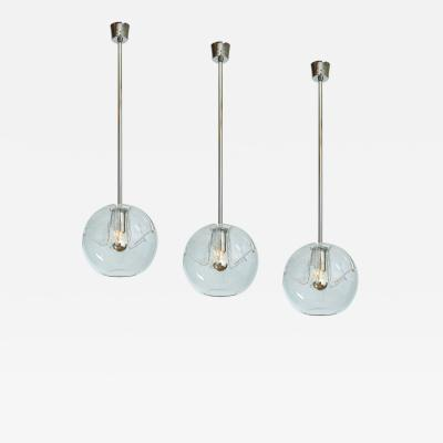 Set of Twelve Blown Glass Clear Pendant Lanterns
