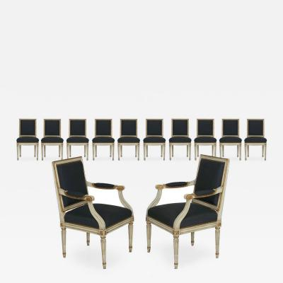 Set of Twelve French Louis XVI White Painted Antique Dining Chairs Early 20th C