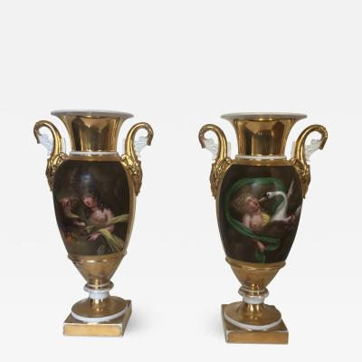 Set of Two 19th Century French Old Paris Porcelain Vases