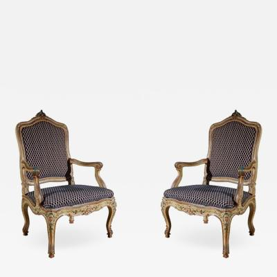 Set of Two Antique Venetian Arm Chairs