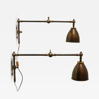 Set of Two Articulated Brass Wall Lamps or Reading Lights 1970s Germany