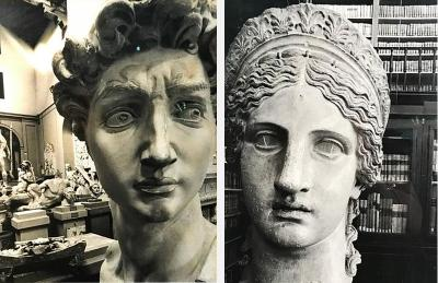 Set of Two Exceptional Quality Photographs of Roman Busts Signed and Dated