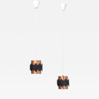Set of Two German Midcentury Copper Colored Pendant Lights