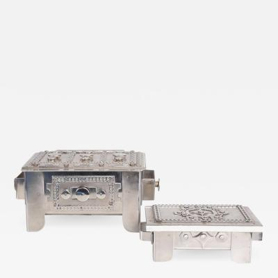 Set of Two Modernist Stainless Steel Art Boxes by Stanley Szwarc