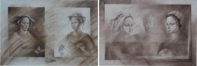 Set of Two Pencil and Charcoal Portraits