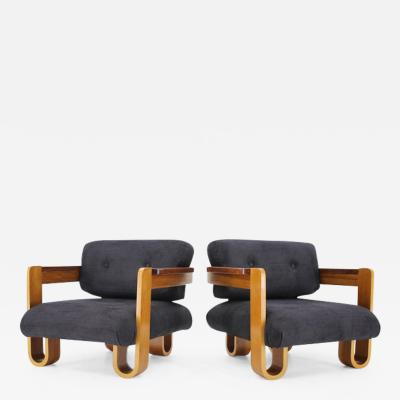 Set of Two Rare Unique Bentwood Midcentury Armchairs 1970s Restored