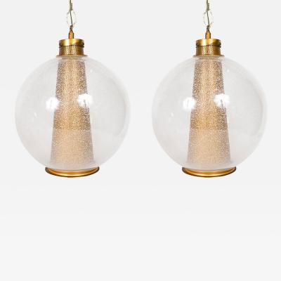 Set of Two Spherical Mid Century Glass Hanging Lamps