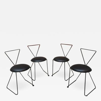Set of black iron and sky chairs 1980s