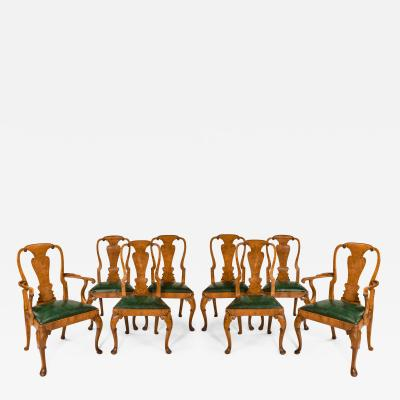 Set of eight Queen Anne style walnut and figured elm vase splat dining chairs