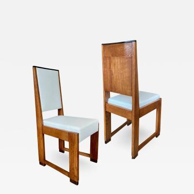 Set of four De Stijl side chairs in oak with macassar ebony