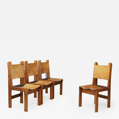 Set of four French wood and leather chairs in the style of Pierre Chapo 1960s
