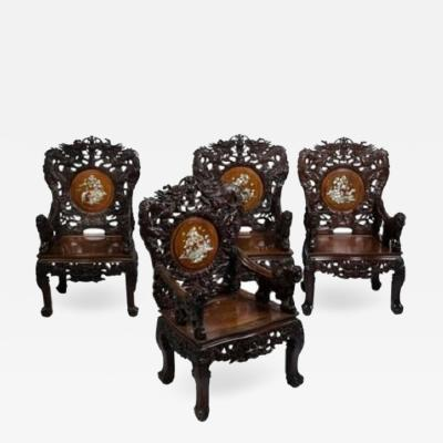 Set of four Indochinese armchairs circa 1930