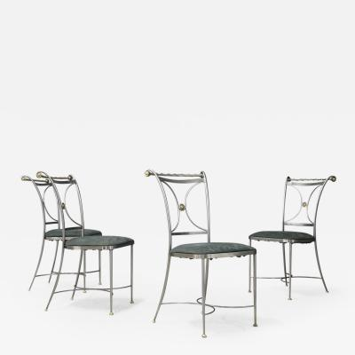 Set of four MidCentury Chair by Banci Firenze Steel and brass 1970s