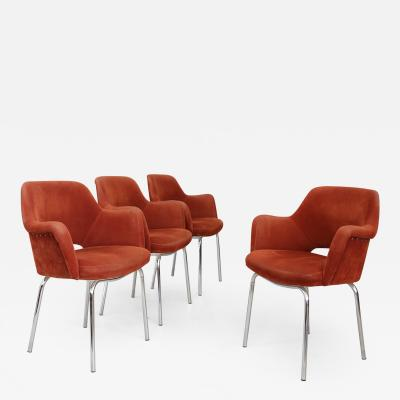 Set of four MidCentury Italian Chair in steel and fabric orange 1960s